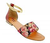 Sandalia feminina floral castor