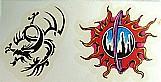 Tattoo mania,  embalagem,  3 cartelas com 2 desenhos cada,  recortes eletrônicos individuais