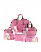 Kit bolsas maternidade 5 pecas guatemala rosa para bebes