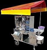 Carrinho de churrasco grego todo inox espeto automatico com caixa termica
