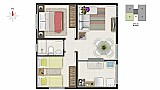 Apartamento medindo 52 m² ,  2 quartos ., sala,  cozinha com lavanderia acoplada ,  banheiro ,  uma vaga de garagem ,  portaria ,  parquinho,  salao de festas . proximo a supermercado condor ; farmacias ,  hospitais e terminal de ônibus .ótima local