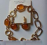 Conj pulseira e brinco agata folheada ouro 18 k comp 19 cm