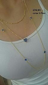 Colar coracao azul tres fios magnifico folheado a ouro 18 k