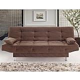 Sofa cama mary tecido suede pena com almofadas buriti