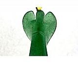 Anjinho pingente pedra quartzo verde cristal cordao couro