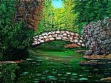 Quadro paisagem ponte sobre as aguas