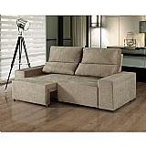 Sofá 3 lugares assento retrátil com encosto reclinável