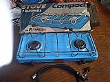 Fogao yanes p/ camping,   2 bocas,   esmaltado azul; so uzado 1 vez.