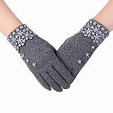 Luvas femininas pretas touchscreen quentinhas para o inverno