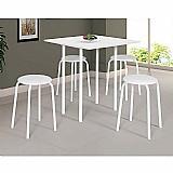 Conjunto de mesa dobravel com 4 bancos de cozinha expert branco