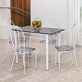 Conjunto de mesa com 4 cadeiras monique branco