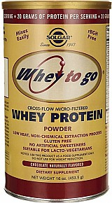 Whey to go whey protein sabor natural de chocolate 453, 5g solgar