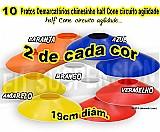 10 pratos chines (cones half) 4, 5cm de altura pvc flexivel,  demarcatorio circuito agilidade