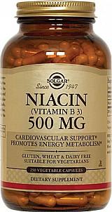 Niacina (vitamina b3),  500mg,  250 capsulas vegetarianas,  solgar