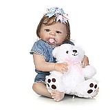 Bebê reborn carlota - 55 cm - corpo de silicone
