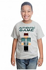 Camiseta minecraft authentic game skin infantil