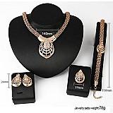 Conjunto de colar,         brincos,         pulseira,         anel joias fashion folheados a ouro