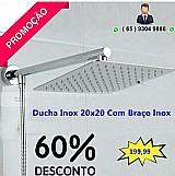 Bazar mt - promocao braco quadrado ducha 20x20 chuveiro cromo banheiro inox luxo banhero em cuiabá