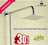 Bazar mt - promocao chuveiro 15x15 cromado inox c ducha de mao banheiro piscina luxo ( cuiaba )