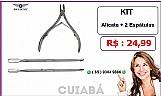 Bazar mt -  kit alicate inox   2 espatulas cuticulas ( cuiaba )