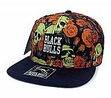Bone aba reta snapback black bulls floral caveira