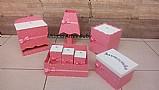 Kit higiene bebe rosa com branco poa