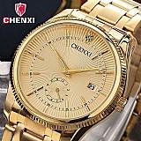 Relogio marca chenxi quartzo gold luxo