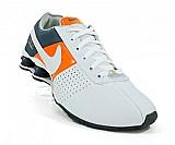 Tenis nike shox deliver branco,  laranja e azul marinho