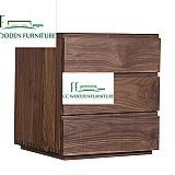 Modern minimalist black walnut wood bedside tables nightstands