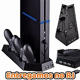 Base vertical ps4 fat   2 cooler   2 carregador de controle ps4