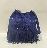 Bolsa feminina saco com franja azul
