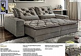 Sofa retratil e reclinavel 4 lugares sala de estar tecido suede