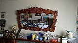 Espelho bisotado moldura em madeira macica entalhada à mao