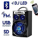 Caixa bluetooth luz led caxinha 15 wats usb pendrive alto falante