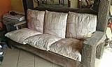 Sofa madeira rustica dormentes 03 lug - almofadas de couro