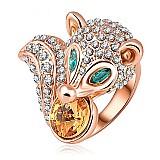 Anel feminino banhado a ouro rose 18k com cristal austriaco raposa