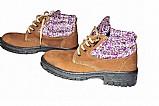 Botina bota seguranca adventure couro nobuck feminina floral - roupas e calcados