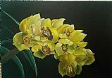 Quadro decorativo pintado à mao - orquideas amarelas