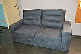 Sofa 3 lugares assento retratil e reclinavel cor chumbo - novo