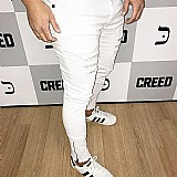 Calcas jeans masculinas destroyed super skinny com  ziper na barra