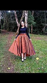 Saia mullet longa com laco de fita moda evangelica