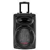Caixa de som amplificada trc 358n 350w - microfone sem fio,   usb,   bluetooth e bateria recarregavel