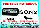 Fonte carregador notebook sony vaio 19.5v 4.7a pino 6.0mm x 4.0mm