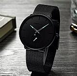 Relógio preto crju masculino top marca de luxo relogio de quartzo homens casual magro malha de aco à prova d água relogio do esporte relogio masculino