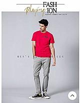 Camiseta rosa simwood primavera 2019 verao nova calca casual homens algodao calcas chinos slim fit moda masculina marca de roupas plus size