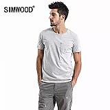Camiseta simwood 2019 verao nova lavagem ácida t-shirt dos homens camiseta de alta qualidade 100% algodao do vintage hip hop t shirt tops td017108