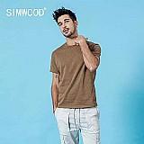 Camiseta simwood 2019 verao novo 100% algodao colorido t camisa dos homens da tripulacao do pescoco manga curta t-shirt casual tees tops de alta qualidade 190116