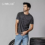 Camiseta simwood 2019 verao nova t-shirt dos homens do vintage lavado carta imprimir hip hop streetwear tops plus size roupas t camisa masculina 190249
