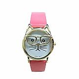 Relógio tempo zero 501 2019 mulheres novo relogio de pulso bonito óculos cat analogico quartz dial relogio de pulso de luxo exclusivo presentes bonitos livre gratis
