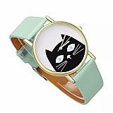 Relógio tempo zero 501 2019 nova moda gato relogio de pulso dos homens das mulheres pulseira de couro quartz analogico dial relogio de pulso de luxo ocasional livre gratis
